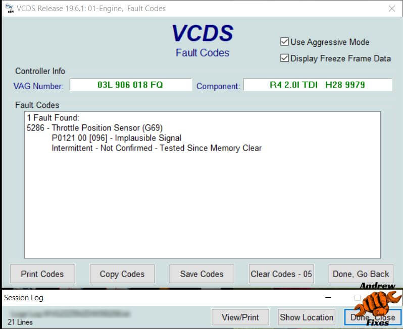 Picture of VCDS screenshot showing P0121 throttle position sensor implausible signal code